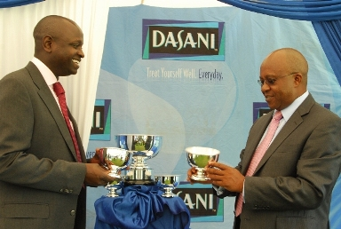 WELL IN: Alfred Kariuki (right) with Coca-Cola General Manager East Africa Peter Njonjo during the launch of Dasani Golf Gala on Thursday. He was elected the new KGU chairman after the Union's AGM on Friday.